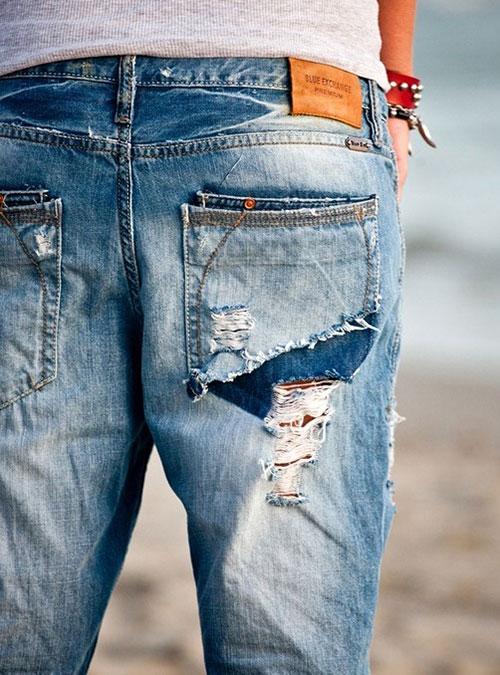 оторванный карман на джинсах