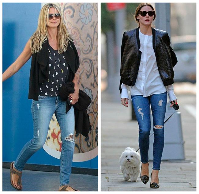 звездные луки с рваными джинсами