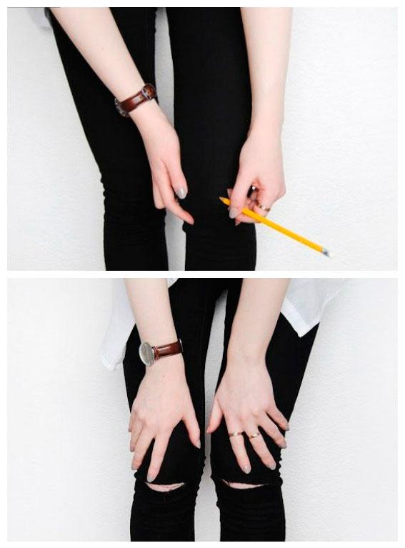 Как правильно сделать дырки на коленях джинсах 379