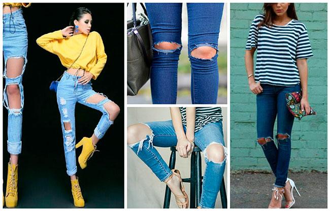 джинсы с порванными коленками