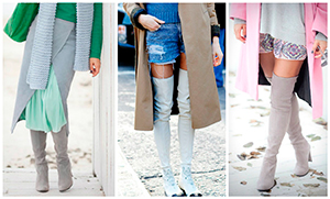Ботфорты замшевые с джинсами